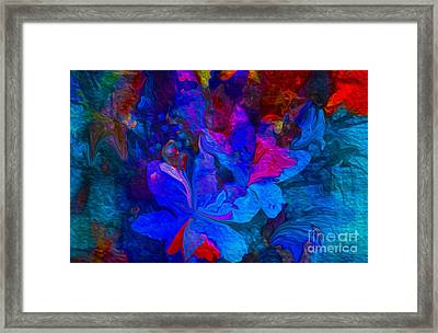 Fun Abstract Flowers In Blue Framed Print by Sherri  Of Palm Springs