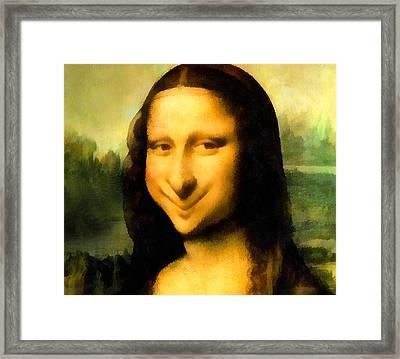 Fun With Mona Lisa Framed Print by Leonardo da Vinci