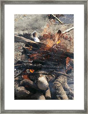 Funeral Pyre In India Framed Print by Tony Camacho