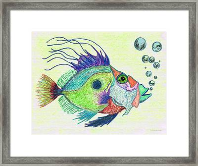 Underwater Diva Framed Print featuring the painting Funky Fish Art - By Sharon Cummings by Sharon Cummings