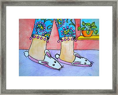 Funny Bunny Slippers Framed Print by Debi Starr