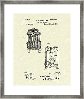 Furnace 1890 Patent Art Framed Print by Prior Art Design