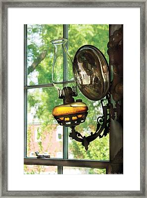 Furniture - Lamp - An Oil Lantern Framed Print by Mike Savad