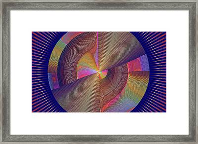 Futuristic Blue Yellow And Pink Tech Disc Fractal Flame Framed Print by Keith Webber Jr