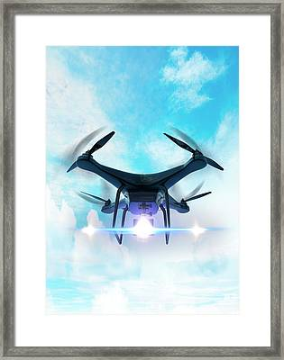Futuristic Drone Framed Print by Victor Habbick Visions