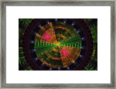 Futuristic Green And Purple Tech Disc Fractal Flame Framed Print by Keith Webber Jr
