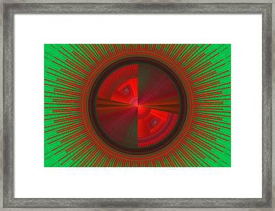 Futuristic Green And Red Tech Disc Fractal Flame Framed Print by Keith Webber Jr