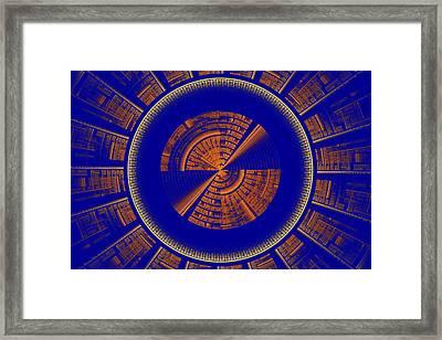 Futuristic Tech Disc Blue And Orange Fractal Flame Framed Print by Keith Webber Jr