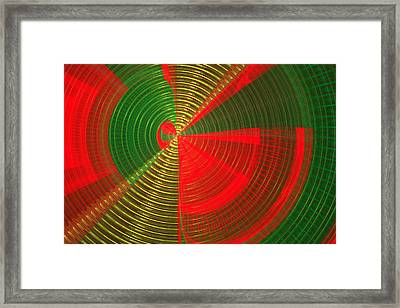 Futuristic Tech Disc Green And Red Fractal Flame Framed Print by Keith Webber Jr