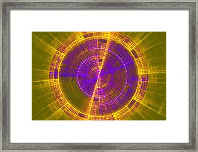 Futuristic Tech Disc Green Yellow And Blue Fractal Flame Framed Print by Keith Webber Jr