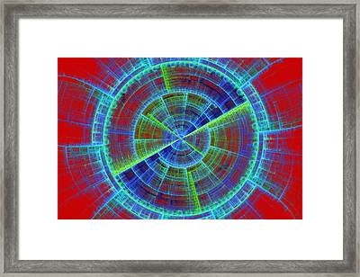 Futuristic Tech Disc Red And Blue Fractal Flame Framed Print by Keith Webber Jr