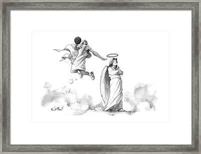 G-d Slam Dunks On An Angel's Halo Framed Print by Will McPhail