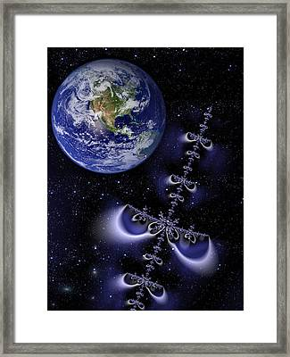 Galactic Alien Spaceship Visiting Earth Framed Print by Matthias Hauser
