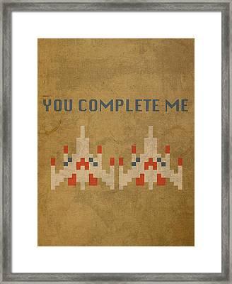 Galaga Vintage Video Game Art You Complete Me Framed Print by Design Turnpike