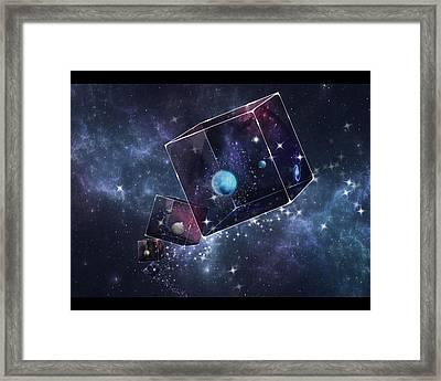 Galaxy Cube Framed Print by Astrid Rieger