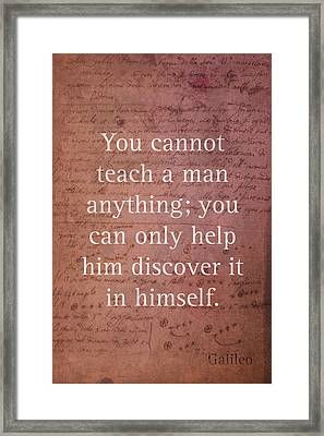 Galileo Quote Science Astronomy Math Physics Inspirational Words On Canvas Framed Print by Design Turnpike