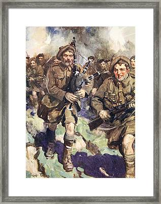Gallant Piper Leading The Charge Framed Print by Cyrus Cuneo