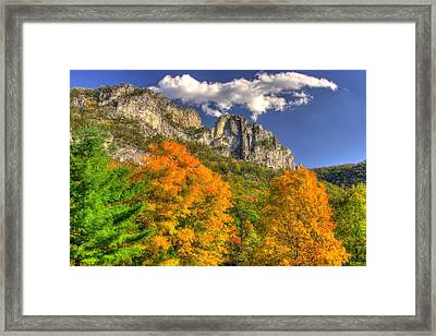 Galloping Cumulus Above Seneca Rocks - Seneca Rocks National Recreation Area Wv Autumn Mid-afternoon Framed Print by Michael Mazaika