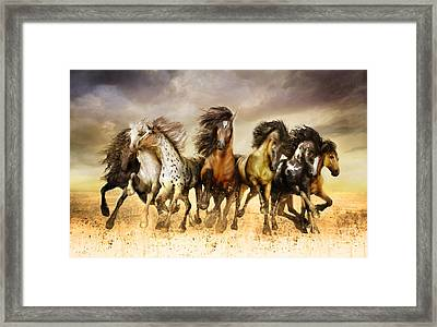 Galloping Horses Full Color Framed Print by Shanina Conway