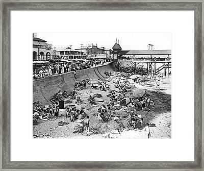Galveston Beach Scene Framed Print by Underwood Archives