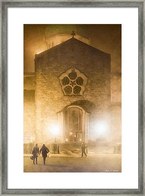 Galway Cathedral In A Winter Fog Framed Print by Mark E Tisdale