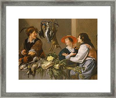 Game And Vegetable Sellers Oil On Canvas Framed Print by Theodor Rombouts