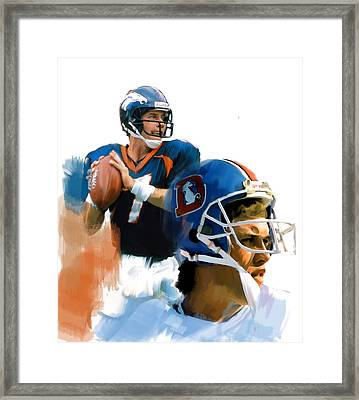 Game Elway  John Elway Framed Print by Iconic Images Art Gallery David Pucciarelli