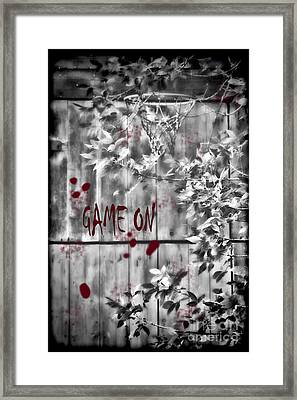 Game On Basketball Black And White Framed Print by Cathy  Beharriell