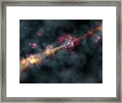 Gamma-ray Burst Framed Print by Gemini Observatory/aura, Artwork By Lynette Cook