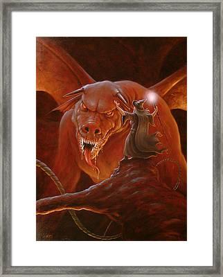 Gandalf Fighting The Balrog Framed Print by John Silver