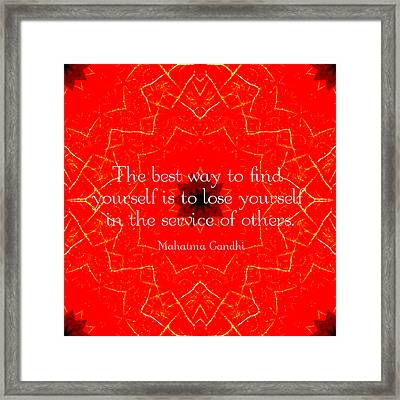 Gandhi Inspirational Saying About Self-help Framed Print by Quintus Wolf