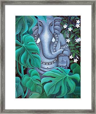 Ganesh With Jasmine Flowers 2 Framed Print by Vishwajyoti Mohrhoff