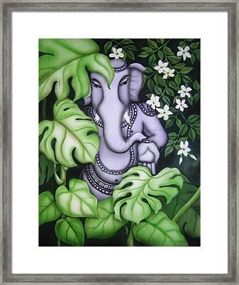 Ganesh With Jasmine Flowers Framed Print by Vishwajyoti Mohrhoff