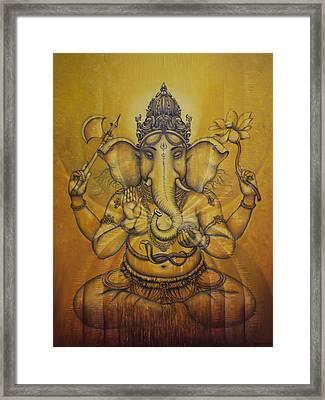 Ganesha Darshan Framed Print by Vrindavan Das