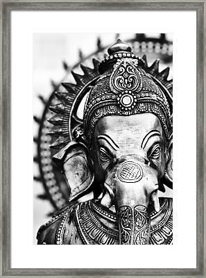 Ganesha Monochrome Framed Print by Tim Gainey