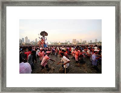 Ganesha's Final Procession Framed Print by Money Sharma