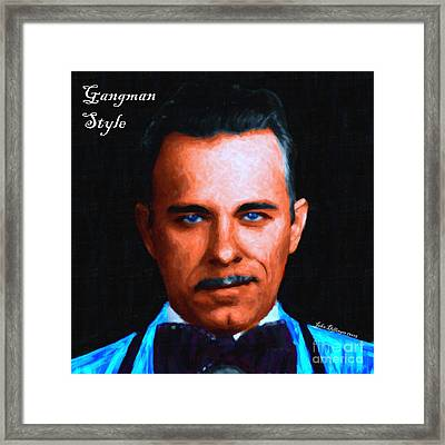 Gangman Style - John Dillinger 13225 - Black - Painterly - With Text Framed Print by Wingsdomain Art and Photography
