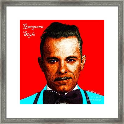 Gangman Style - John Dillinger 13225 - Red - Color Sketch Style - With Text Framed Print by Wingsdomain Art and Photography