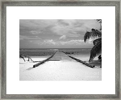 Gangplank Of Perfection Black And White Framed Print by Heather Kirk