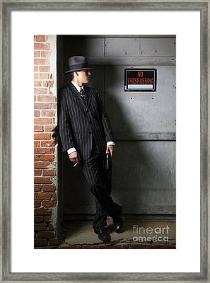 Gangster In The Shadows Framed Print by Diane Diederich