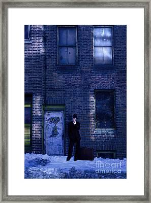 Gangster On A Dark Street Framed Print by Diane Diederich