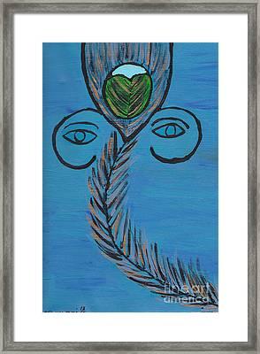 Ganpati Peacock Feather Framed Print by Melissa Vijay Bharwani