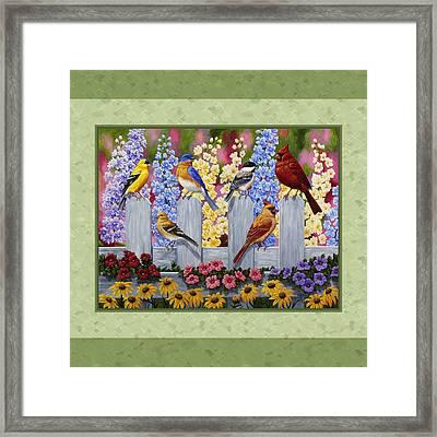 Garden Birds Duvet Cover Green Framed Print by Crista Forest