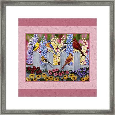 Garden Birds Duvet Cover Pink Framed Print by Crista Forest