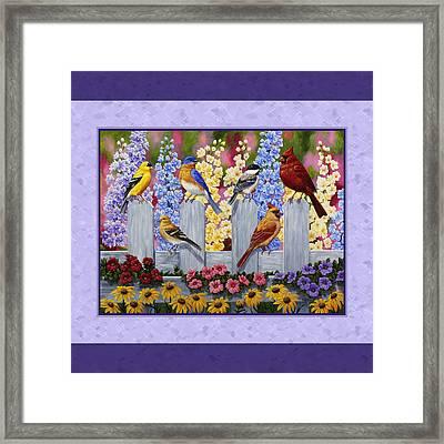 Garden Birds Duvet Cover Purple Framed Print by Crista Forest