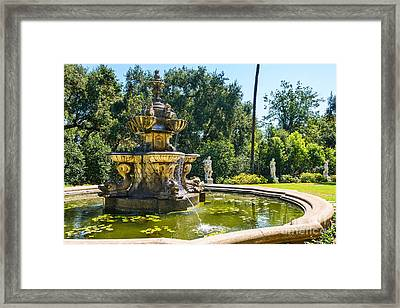 Garden Fountain - Iconic Fountain At The Huntington Library And Botanical Ga Framed Print by Jamie Pham