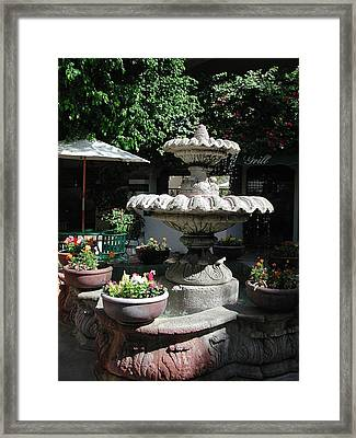 Garden Fountain Framed Print by Pat Knieff