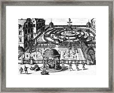 Garden From Hortum Viridariorumque Elegantes Et Mumultiplicis Formae Framed Print by Vredeman de Vries