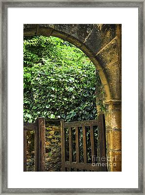 Garden Gate In Sarlat Framed Print by Elena Elisseeva