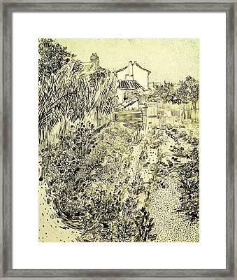 Garden Of Flowers Framed Print by Vincent Van Gogh